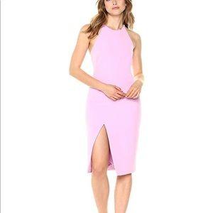 bardot bright pink coral slit dress
